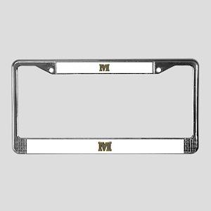 M Gold Diamond Bling License Plate Frame
