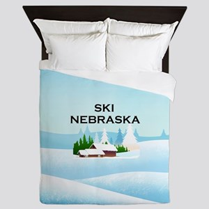 Ski Nebraska Queen Duvet