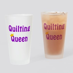 Queen of Quilting Drinking Glass