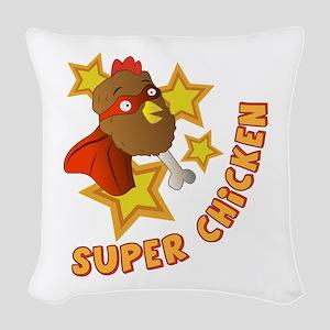 Super Chicken Woven Throw Pillow