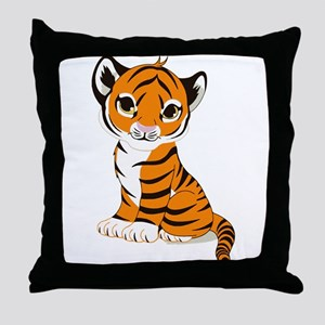 Tiger Cub Sitting and Watching Throw Pillow