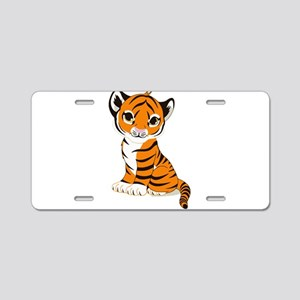 Tiger Cub Sitting and Watch Aluminum License Plate