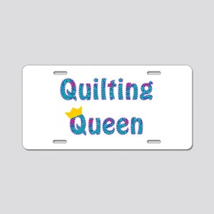 Colorful Quilting Queen Aluminum License Plate