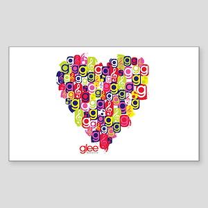 Glee Heart Sticker (Rectangle)