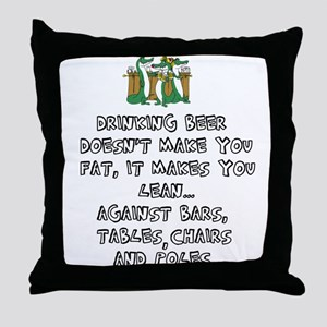 Beer Drinking Throw Pillow