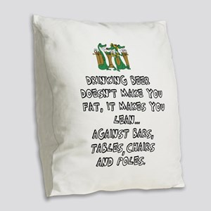 Beer Drinking Burlap Throw Pillow