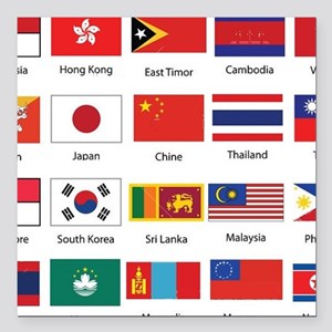 """Asian Flags Square Car Magnet 3"""" x 3"""""""