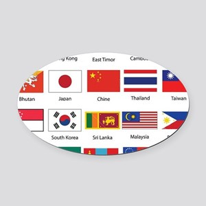 Asian Flags Oval Car Magnet