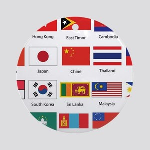 Asian Flags Round Ornament