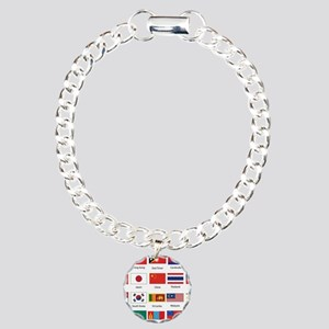 Asian Flags Charm Bracelet, One Charm