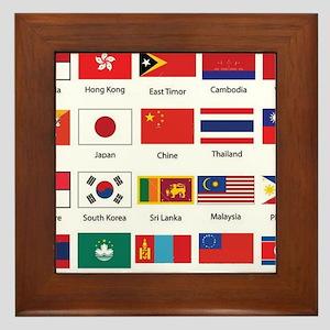 Asian Flags Framed Tile