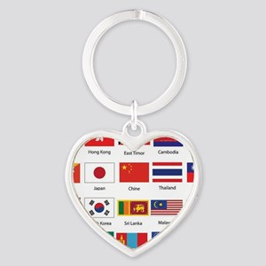 Asian Flags Heart Keychain