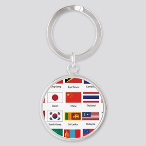 Asian Flags Round Keychain