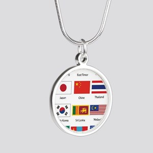 Asian Flags Silver Round Necklace