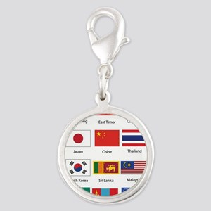 Asian Flags Silver Round Charm