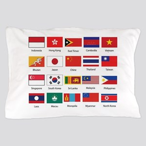 Asian Flags Pillow Case