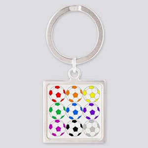Rainbow Soccer Square Keychain