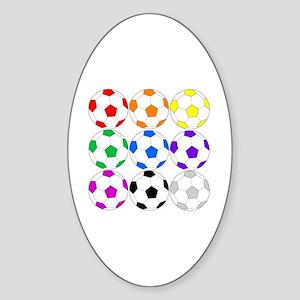 Rainbow Soccer Sticker (Oval)