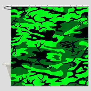 Alien Green Camo Shower Curtain