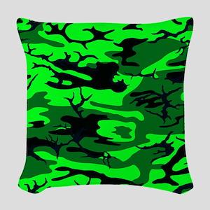 Alien Green Camo Woven Throw Pillow