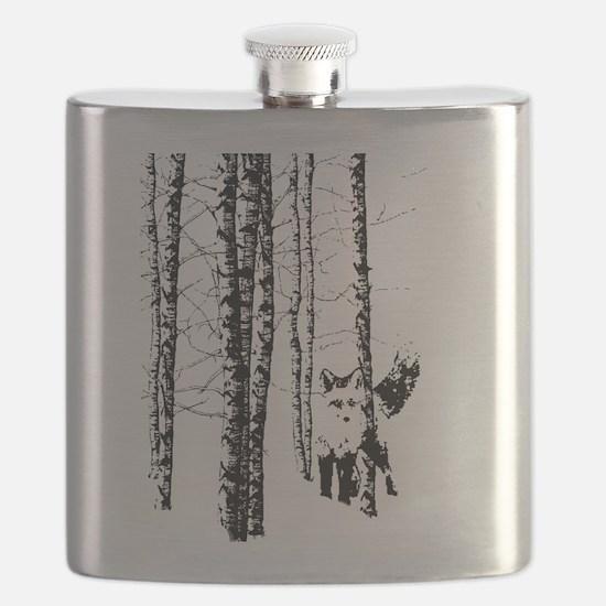 Fox in Birch Forest Modern Art Flask