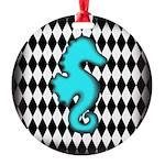 Teal Black Seahorse Ornament