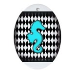 Teal Black Seahorse Ornament (Oval)