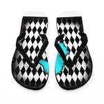 Teal Black Seahorse Flip Flops