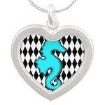 Teal Black Seahorse Necklaces