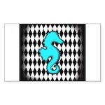 Teal Black Seahorse Sticker