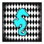 Teal Black Seahorse Square Car Magnet 3