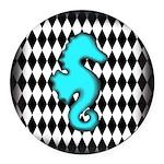 Teal Black Seahorse Round Car Magnet