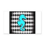 Teal Black Seahorse Rectangle Car Magnet