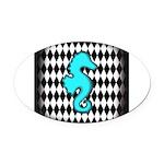 Teal Black Seahorse Oval Car Magnet