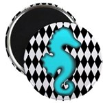 Teal Black Seahorse Magnets