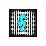 Teal Black Seahorse Posters