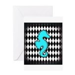 Teal Black Seahorse Greeting Cards