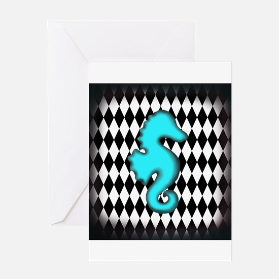 Teal Black Seahorse Greeting Cards