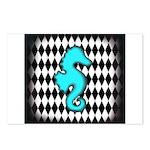 Teal Black Seahorse Postcards (Package of 8)