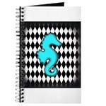 Teal Black Seahorse Journal