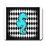 Teal Black Seahorse Mousepad