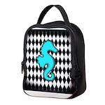 Teal Black Seahorse Neoprene Lunch Bag