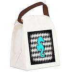 Teal Black Seahorse Canvas Lunch Bag