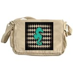 Teal Black Seahorse Messenger Bag