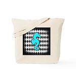 Teal Black Seahorse Tote Bag