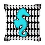Teal Black Seahorse Woven Throw Pillow