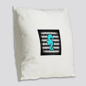 Teal Black Seahorse Burlap Throw Pillow