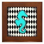 Teal Black Seahorse Framed Tile