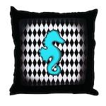 Teal Black Seahorse Throw Pillow