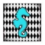 Teal Black Seahorse Tile Coaster